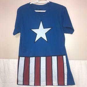 🧩Marvel Captain America Flag Short Graphic Tee